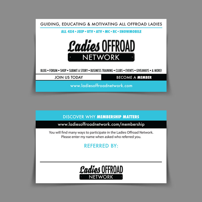 Ladies Offroad Network Referral Card