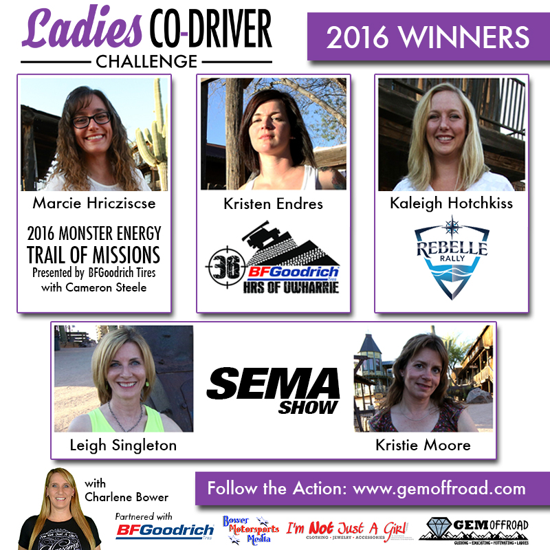 ladies co driver challenge Winners
