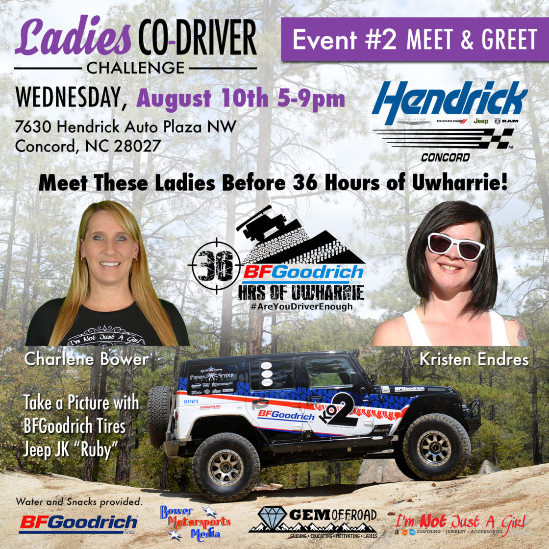 Two Ladies Co-Driver Challenge Meet & Greets Before 36 Hours of Uwharrie at Jeep Dealerships
