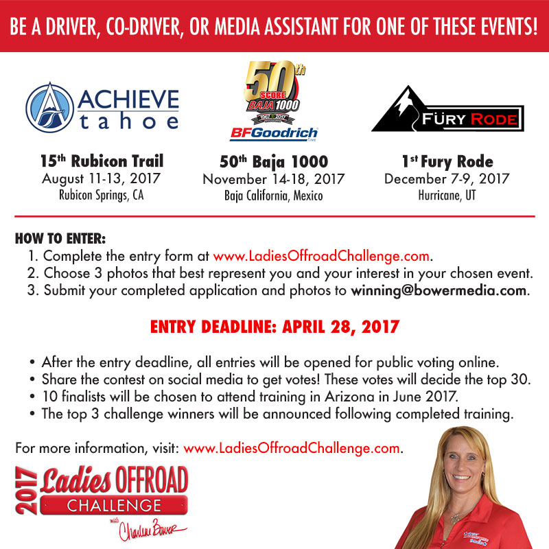 2017 Ladies Offroad Challenge Announced to Join Charlene Bower at Three Events