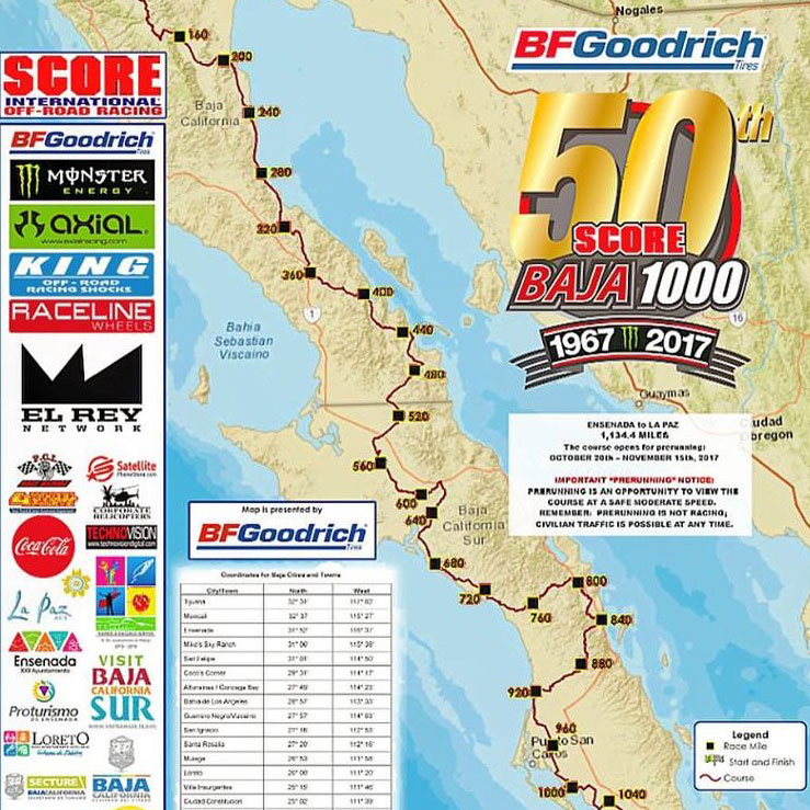 2017 BFGoodrich Baja 1000 Schedule & Pit Locations