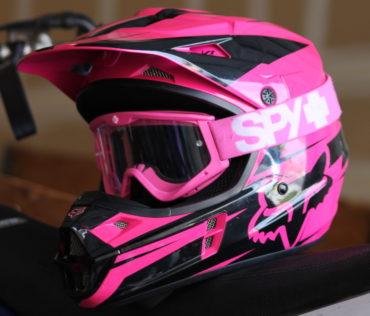 pink helmet goggles
