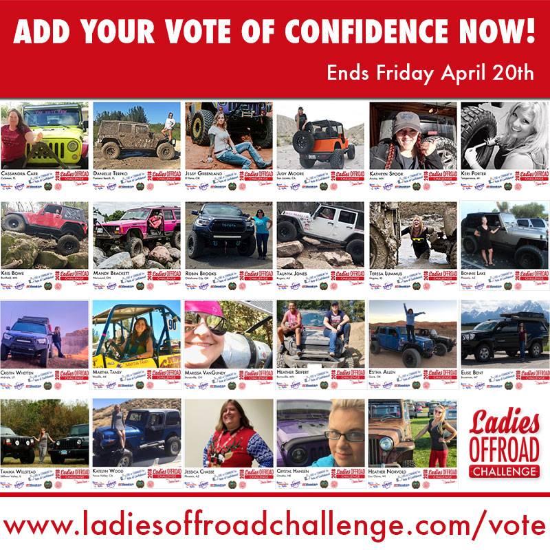 2018 Ladies Offroad Challenge Votes of Confidence End Friday